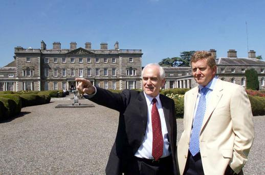 FORE: Carton House owner Lee Mallaghan with golfer Colin Montgomerie, who designed one of the courses on the estate. Photo: PA