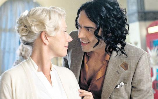 MAN OF THE MOMENT: Russell Brand can draw headlines over his on-screen work, such as 'Arthur', with Helen Mirren