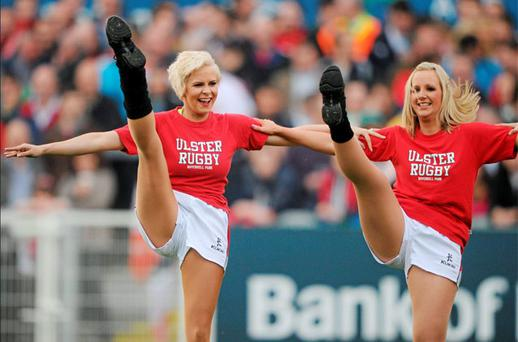 Holly Sweeney, left, former girlfriend of golfer Rory McIlroy, performs with the 'Ulster Rockettes' during the pre-match entertainment