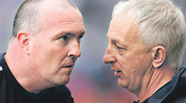 Dublin manager Pat Gilroy (left) and his Cork counterpart Conor Counihan were in deep conversation after the game, which Cork won