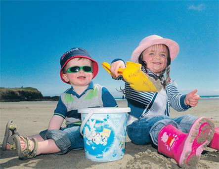Ben and Mia Dorgan at Inchydoney beach, Co Cork yesterday