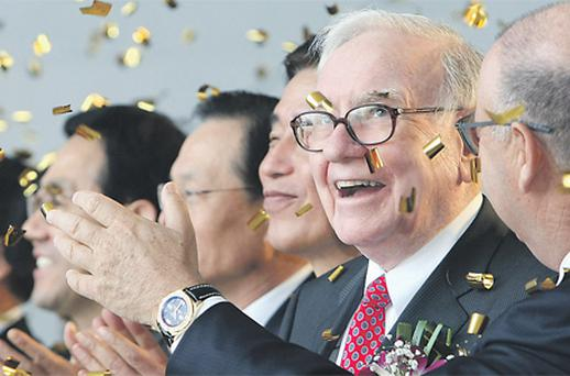 Warren Buffett, chairman and chief executive officer of Berkshire Hathaway, at a ground-breaking ceremony last month for a new factory being built by TaeguTec Ltd, in South Korea