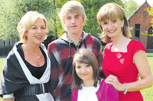 Liz O'Donnell, left, and Adi Roche with Raisa Carolan and Alexy Barrett at a ceremony in Farmleigh, Co Dublin, to mark the anniversay of Chernobyl