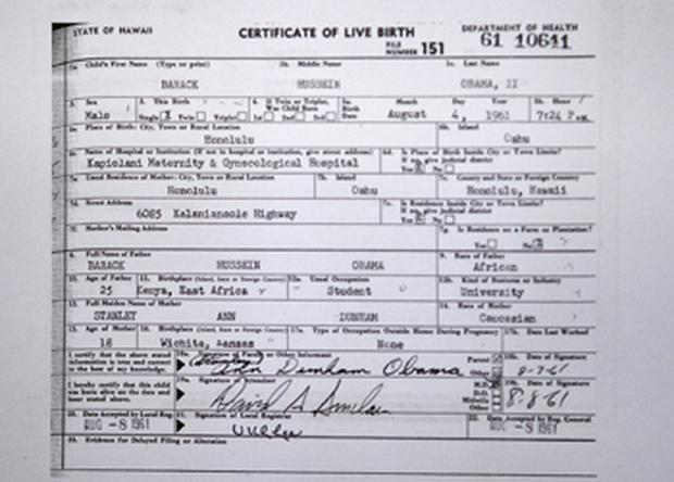 A copy of the long form of President Barack Obama's birth certificate from Hawaii. Photo: Getty Images