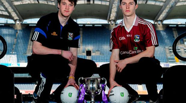 Cavan U21 captain Gearóid McKiernan and Galway counterpart Colin Forde at Croke Park yesterday.