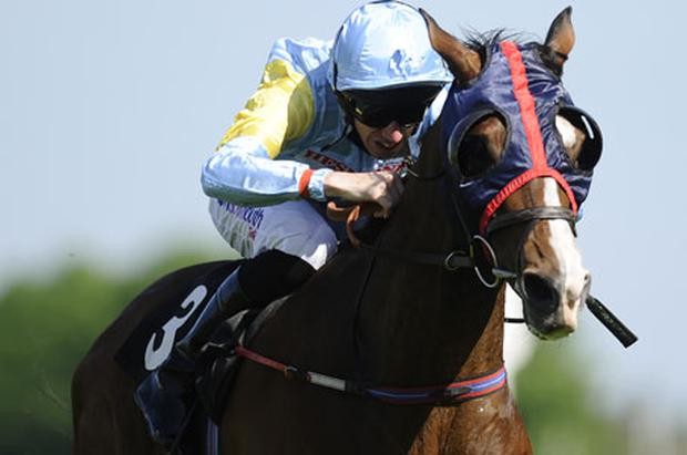 George Baker drives Askar Tau to victory in yesterday's Sagaro Stakes at Ascot. Photo: Getty Images