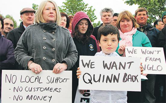 Supporters from counties Cavan, Fermanagh and Leitrim turned up at the Quinn Group headquarters in Co Fermanagh this week