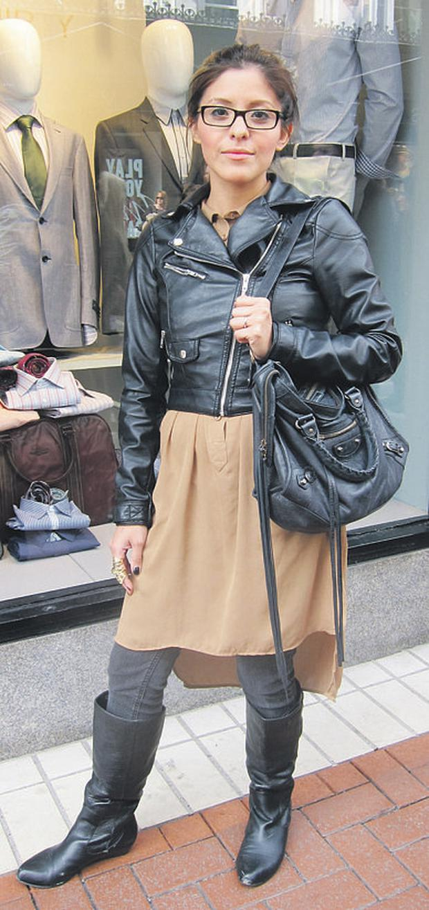 Melissa works biker chic while her camel shirt-dress lightens the look.