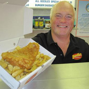 Peter Beedle, the second cousin of Kate Middleton, owner of the award-winning Beedle's Chippy in Bishop Auckland