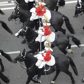 A member of the Household Cavalry was thrown from his horse after the wedding service