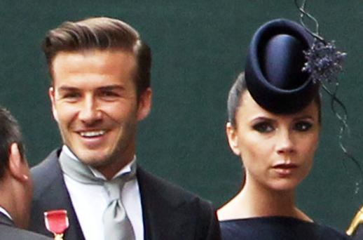 David Beckham and Victoria Beckham arrive to attend the Royal Wedding of Prince William to Catherine Middleton at Westminster Abbey. Photo: Getty Images