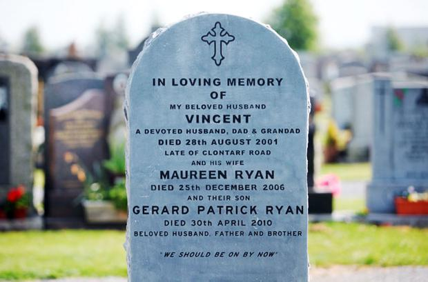 The family plot of Gerry Ryan, his mother Maureen and father Vincent at Dardistown Cemetery in north Dublin. Photo: COLLINS