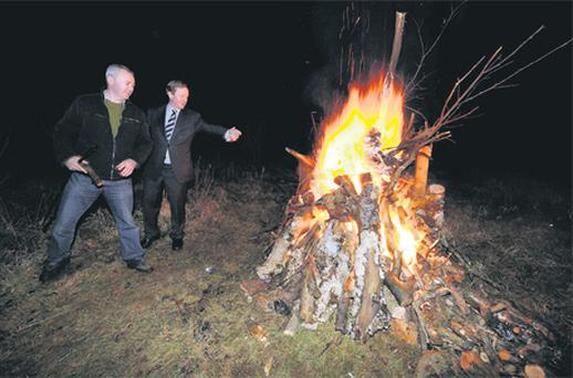 Bonfires have a traditional place in celebrations such as An Taoiseach Enda Kenny and his neighbour Padraig Chambers marking his homecoming after Fine Gael's recent election win