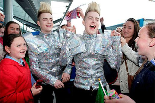 Jedward pictured with some of their fans at Terminal 2 in Dublin Airport before the departed for the Eurovision Song Contest