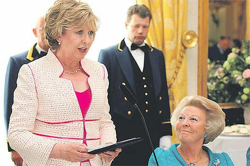 President Mary McAleese and Queen Beatrix of the Netherlands yesterday