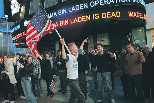 Flag-waving in New York's Times Square after Bin Laden's death at the hands of US forces was announced on Monday