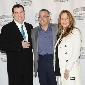 John Travolta, left, John Gotti Jr. and actress Kelly Preston