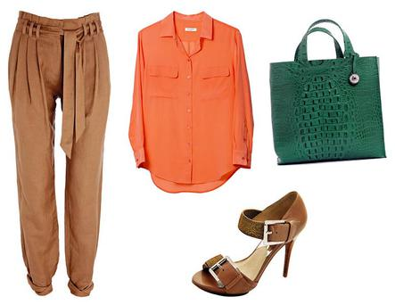 Paper bag trousers, €60 Warehouse www.warehouse.co.uk; Silk tangerine shirt, €235 Equipment, BT2 www.bt2.ie; Buckle strap sandals, €160, Michael Kors, Brown Thomas www.brownthomas.ie; Avocado leather bag, €195, Furla, Arnotts www.arnotts.ie