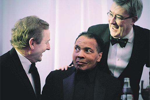 Enda Kenny (left) with Muhammad Ali and Kieran McLoughlin (right) of the Worldwide Ireland Fund