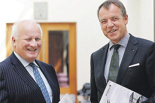 Aer Lingus chairman Colm Barrington (left) and chief executive Christoph Mueller at the company's annual general meeting held yesterday in the Radisson Hotel, Dublin Airport