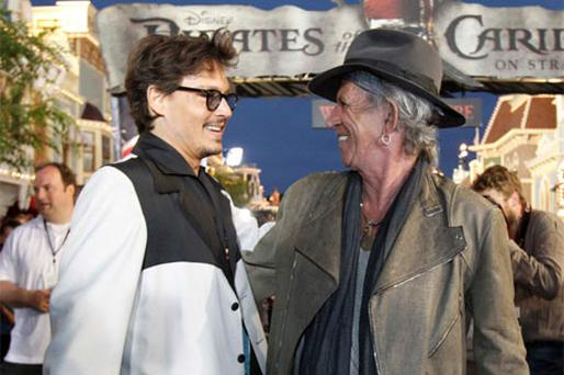 Johnny Depp and Keith Richards at the movie premiere in California on Saturday