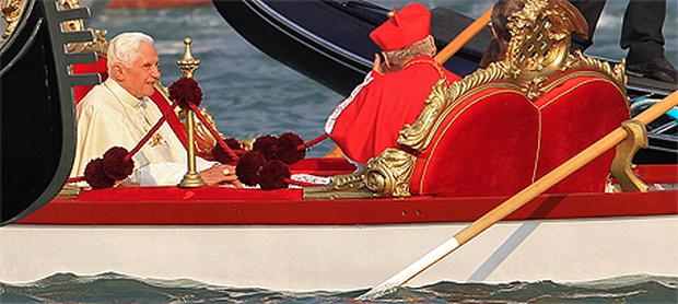 Pope Benedict XVI sits in a gondola in the Grand Canal during his pastoral visit to Venice yesterday