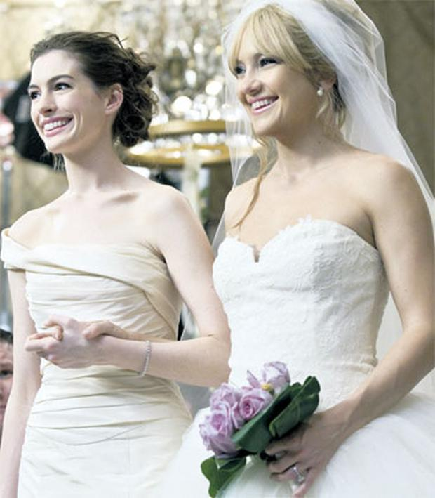 Happy ever after: In Hollywood movies, such as 'Bride Wars' starring Anne Hathaway and Kate Hudson, there's always a happy ending, but real life is rarely so convenient