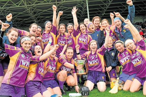 Wexford players celebrate winning the league title last month which leaves them as favourites for an All-Ireland.
