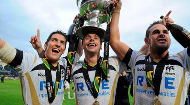 Ospreys' players James Hook, Tommy Bowe and Lee Byrne celebrate last year's Magners League final win over Leinster - they face Munster in Saturday's semi-final.