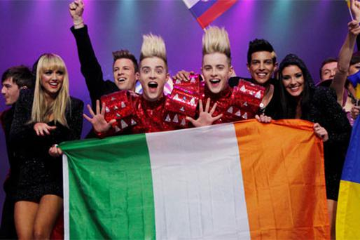 Jedward celebrate in Dusseldorf. Photo: Kyran O'Brien