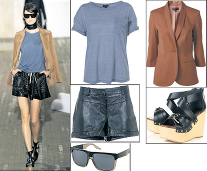 Jacket, €91; T-shirt, €23; sunglasses, €24; and sandals, €128, all at Topshop.com; Leather shorts, €90 at Warehouse