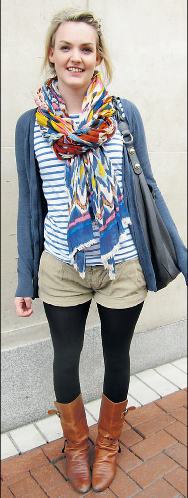 Maria's richly coloured, multi-print scarf is a great trans-seasonal piece.