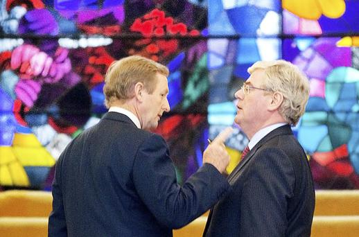 PROTECTING PUBLIC-SECTOR PAY: Taoiseach Enda Kenny and Tanaiste Eamon Gilmore at the Jobs Initiative launch at Government Buildings on Tuesday. Photo: David Conachy