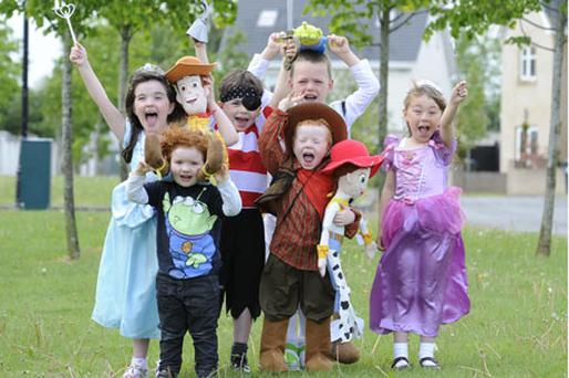 Happy ending: Our children love dressing up as their Disney heroes, whether that's as Buzz Lightyear, Woody, or princesses. L–R: Abbie McNamara, Myles McNamara, Max Gaynor, Ryan Boyle, Sam Gaynor (front), Ciara Legge. Photo: Dave Meehan