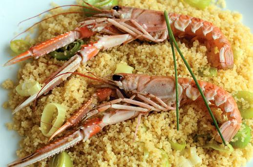 Couscous with Dublin Bay prawns and leeks
