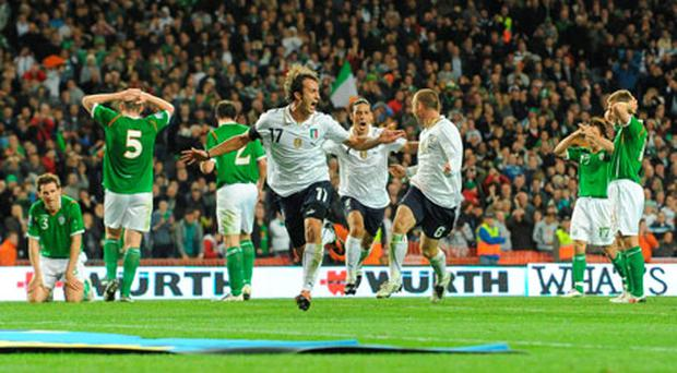Alberto Gilardino celebrates his equaliser for Italy against Ireland in the last meeting between the two teams in October 2009. Photo: Brendan Moran / Sportsfile