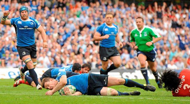 Brian O'Driscoll scores for Leinster against Toulouse in the Heineken Cup semi-final and has been one of the driving forces behind their charge for a second crown.