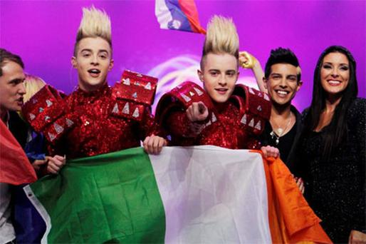 Jedward Celebrate in Dusseldorf at the Eurovision Song Contest. Photo: Kyran O'Brien