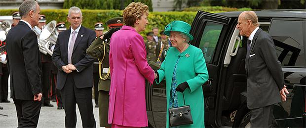 President McAleese welcomes Queen Elizabeth to Aras an Uachtarain. Photo: PA