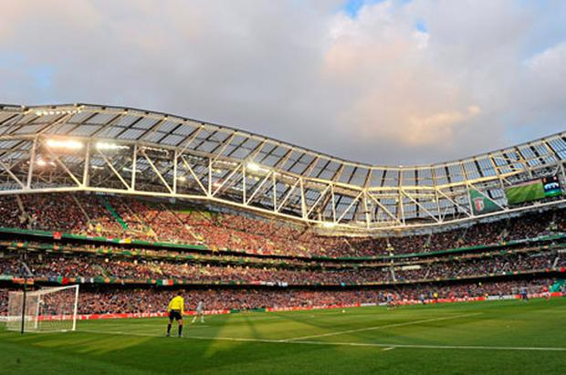 A general view of the Aviva Stadium last night as Braga faced Porto in the Europa League final. Photo: Brian Lawless / Sportsfile