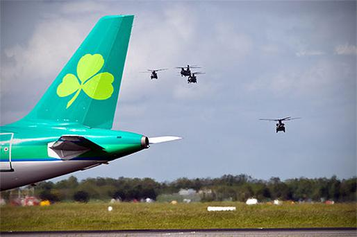 US Army Chinook helicopters landing at Dublin Airport yesterday ahead of Barack Obama's visit next week