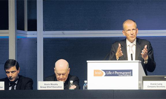 Facing a stormy Irish Life and Permanent AGM yesterday were finance director David McCarthy, chief executive Kevin Murphy, and new chairman Alan Cook who suspended the meeting for 30 minutes to consider motions from the floor. A few shareholders walked out, unhappy that a motion to adjourn was not passed