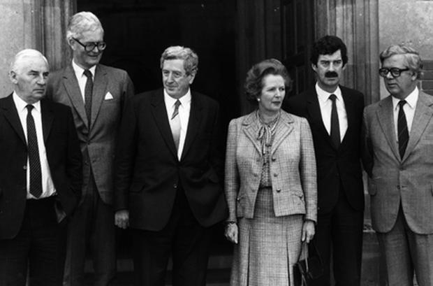 Taoiseach Garret FitzGerald with British Prime Minister Margaret Thatcher prior to the Anglo Irish summit meeting at Chequers in 1984. Also present from left to right, ministers Peter Barry, Douglas Hurd, Dick Spring and Geoffrey Howe. Photo: Getty Images