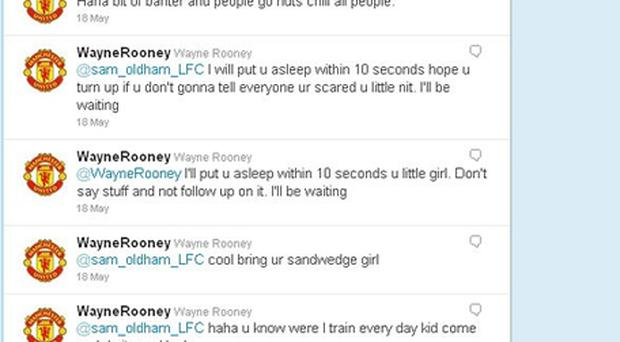 Reaction: Wayne Rooney sent a series of tweets to a follower who abused him. Photo: Twitter