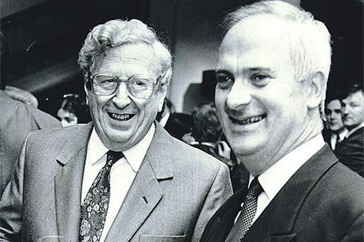 John Bruton (right) served as Finance Minister after Fine Gael, led by Garret FitzGerald, won power in 1981