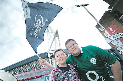 Michael Keenan and his father John at the Millennium Stadium