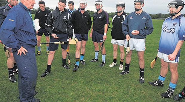 Ahead of today's Nicky Rackard Cup semi-final, Ben Dorney talks to his players during a Fingal hurling training session at Broomfield in Malahide