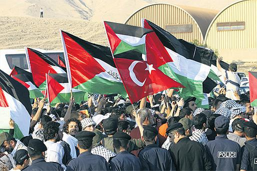 Palestinians protest near the Jordanian-Israeli border on May 15