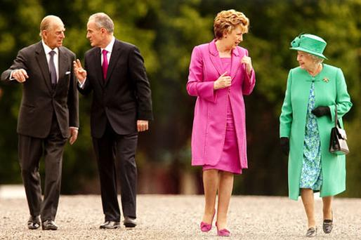 RELATIONSHIP OF EQUALS: Queen Elizabeth and President Mary McAleese, accompanied by the Duke of Edinburgh and Dr Martin McAleese, at Aras an Uachtarain. Photo: David Conachy