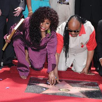 Chaka Khan was joined by Stevie Wonder as she received her star